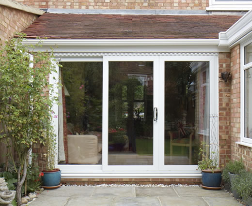 A uPVC sliding patio door leading onto the patio area