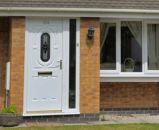 A white uPVC entrance door