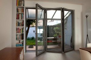 Aluminium bifold doors in grey