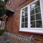 Aluminium casement window close up