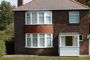 Bay aluminium windows in white