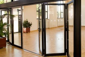 Black sliding folding aluminium doors