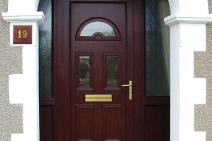 Rosewood colour uPVC front door