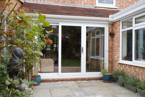 Double glazed sliding patio door in white