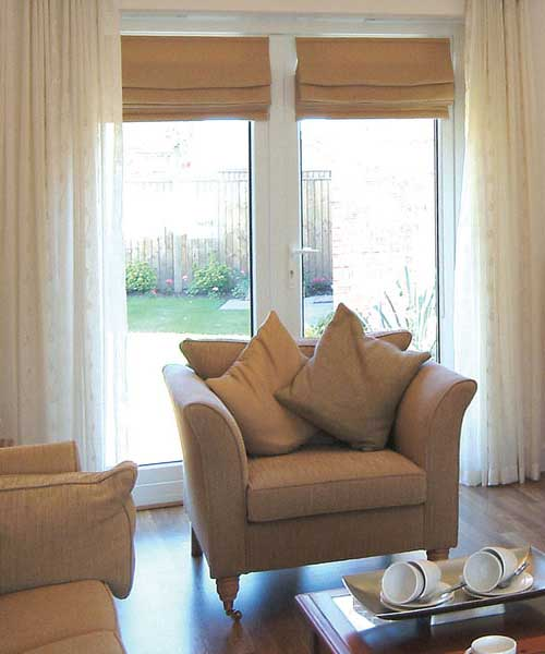 French patio doors from inside the living room