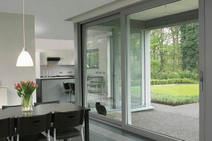 Light grey aluminium sliding patio door
