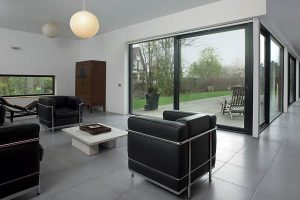 Grey sliding patio doors in aluminium