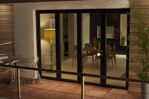 Aluminium bi-fold doors in black