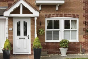 uPVC entrance door in white