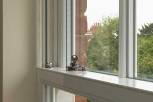 Sash window hardware close up