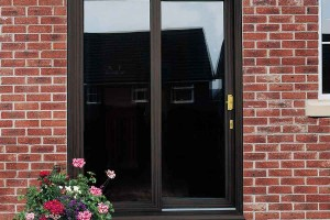Sliding patio door in dark coloured uPVC