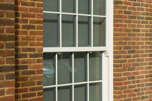 A vertical sliding sash window in uPVC