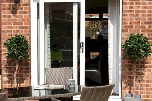 A white double glazed patio door