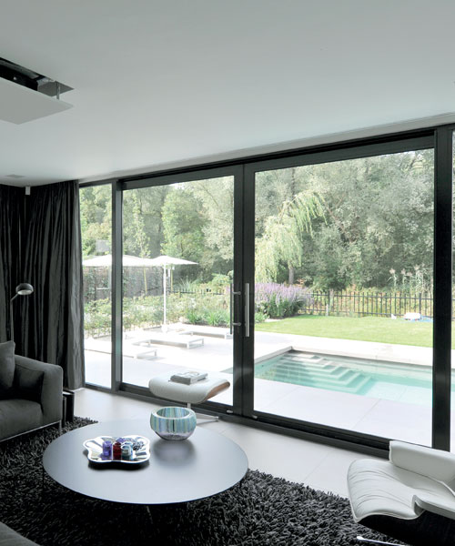Sliding Patio doors in grey aluminium
