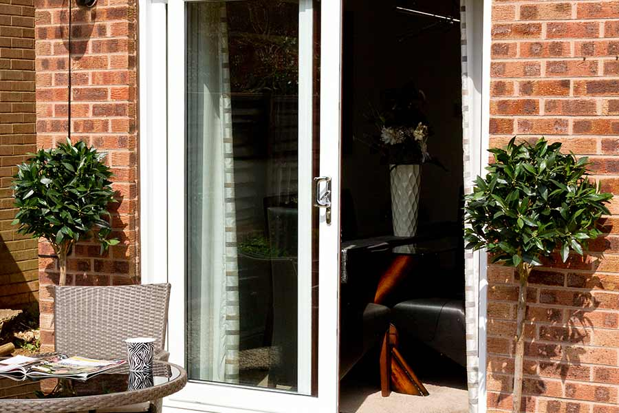 Double pane sliding patio door