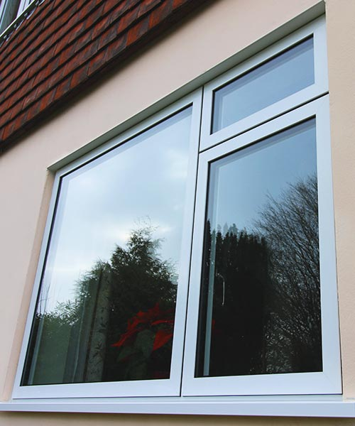 Aluminium casement window with double glazing finished in white