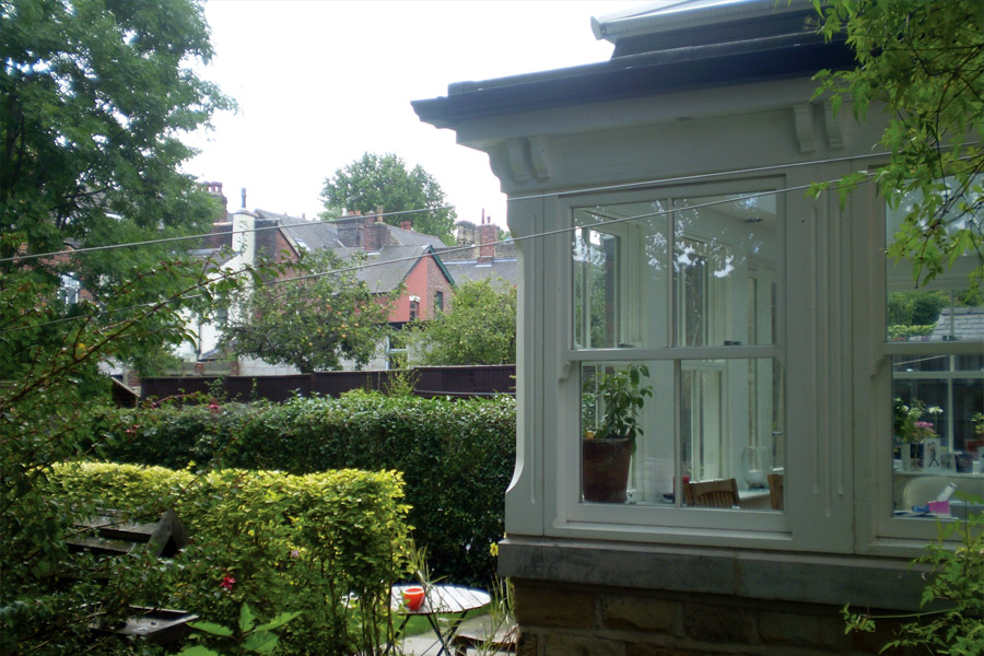 Green timber sliding sash windows