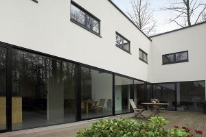 Small grey aluminium windows