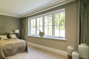 White timber window interior view